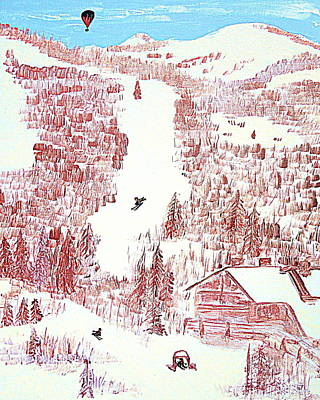 Skiing Deer Valley Utah Art Print by Richard W Linford