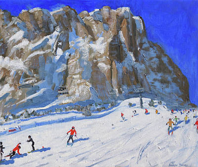 Italian Landscape Painting - Skiing Down The Mountain,selva Gardena by Andrew Macara
