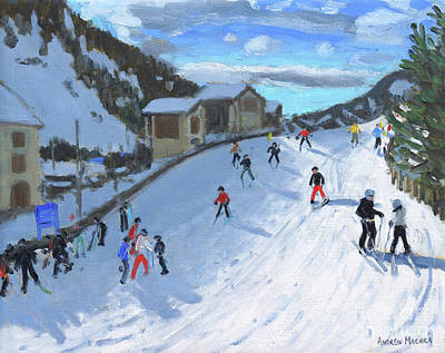 Gardena Painting - Skiing Down To Selva Val Gardena by Andrew Macara