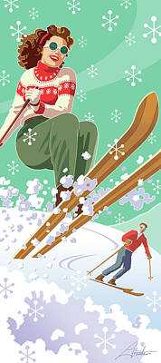 Digital Art - Skiing Holiday by Larry Hunter