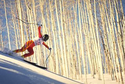 Travel Pics Rights Managed Images - Skiing in Aspen, Colorado Royalty-Free Image by Travel Pics