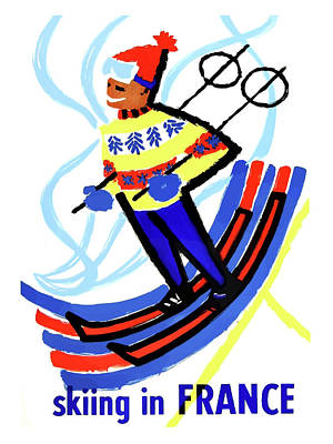 Skiing Painting - Skiing In France, Winter Sport Boy by Long Shot