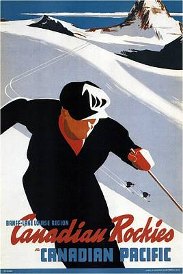 Royalty-Free and Rights-Managed Images - Skiing in the Canadian Rockies - Canadian Pacific - Retro Travel Poster - Vintage Poster by Studio Grafiikka