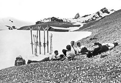 Graubunden Photograph - Skiing In The Grisons by Underwood Archives