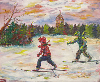 Skiing In The Park Art Print by Naomi Gerrard