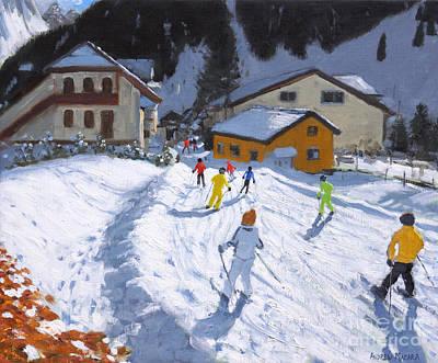 Skiing Into Val Gardena, Italy Art Print