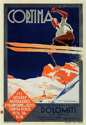 Skiing On The Alps In Cortina - Ice Hockey Tournament - Vintage Advertising Poster Art Print