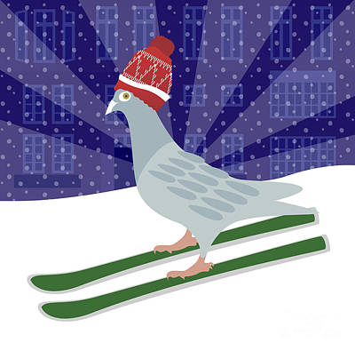 Digital Art - Skiing Pigeon by Claire Huntley