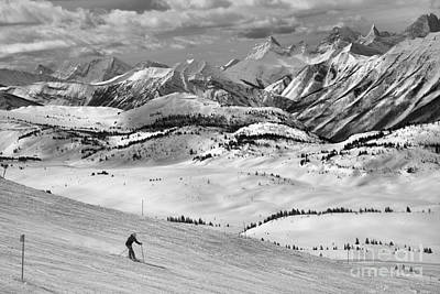 Photograph - Skiing Through The Canadian Rockies Black And White by Adam Jewell