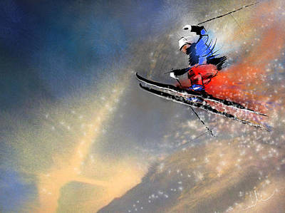 Art Miki Painting - Skijumping 03 by Miki De Goodaboom