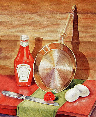 Painting - Skillet Eggs And Heinz Ketchup Watercolor  by Irina Sztukowski