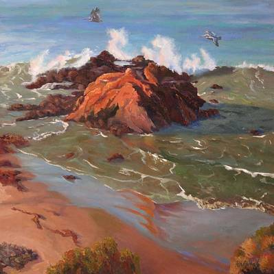 Skimming The Cambria Coast Original by Marian Fortunati