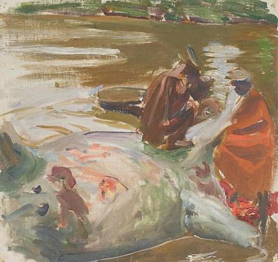 Painting - Skinning A Hippopotamus by Akseli Gallen-Kallela