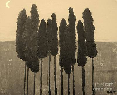 Skinny Trees In Sepia Art Print by Marsha Heiken