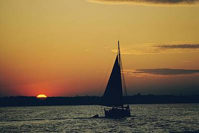 Oyster Photograph - Skipjack Silhouetted In Sunset by Emory Kristof