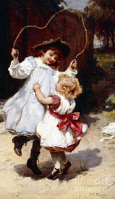 Morgan Painting - Skipping by Frederick Morgan