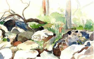 Skipping Rocks Art Print by Linda Berkowitz