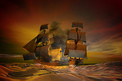 Tall Ship Digital Art - Skirmish by Carol and Mike Werner
