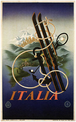 Skis, Anchor And Croquet - Vintage Travel Poster Art Print