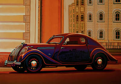 Collectible Sports Art Painting - Skoda Popular Sport Monte Carlo 1935 Painting by Paul Meijering