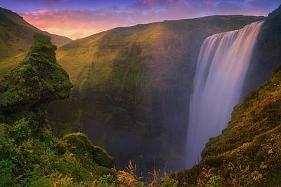 Photograph - Skogafoss Sunset by Giovanni Allievi