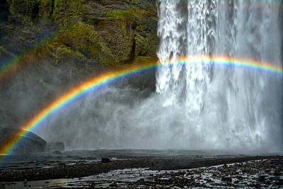Photograph - Skogafoss Waterfall And Rainbow #2 - Iceland by Stuart Litoff