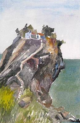 Skopelos Painting - Skopelos Church On The Rock by George Siaba