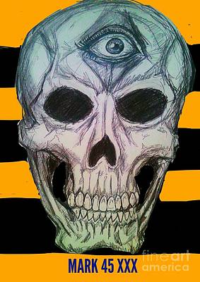 Mixed Media Royalty Free Images - Skull  5 Royalty-Free Image by Mark Bradley