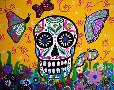 Serenata Painting - Skull And Butterflies by Pristine Cartera Turkus