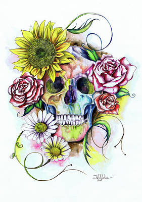 Skull And Flowers Art Print by Isabel Salvador