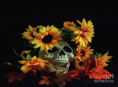 Photograph - Skull And Flowers by Scott Hervieux