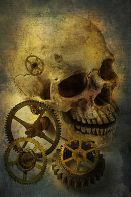 Gear Photograph - Skull And Gears by Garry Gay