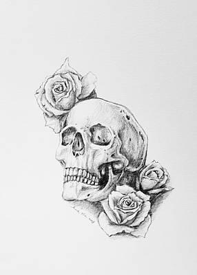Drawing - Skull And Roses by Hae Kim