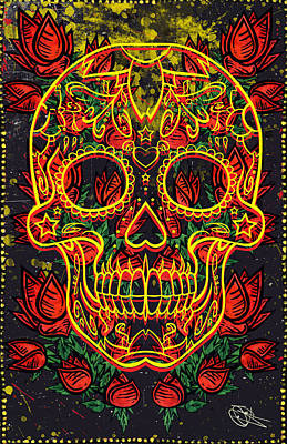 Rose And Skull Painting - Skull And Roses by Josh Brown