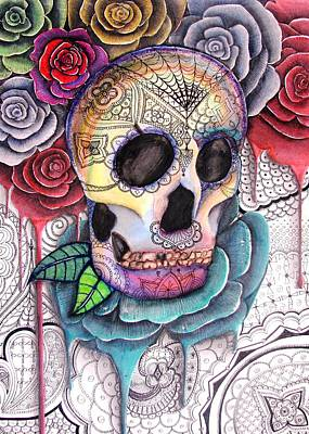 Rose And Skull Painting - Skull And Roses by Yuliya Plotnikova