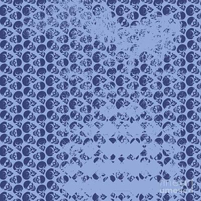 Digital Art - Skull Art Background - Blue by Xrista Stavrou