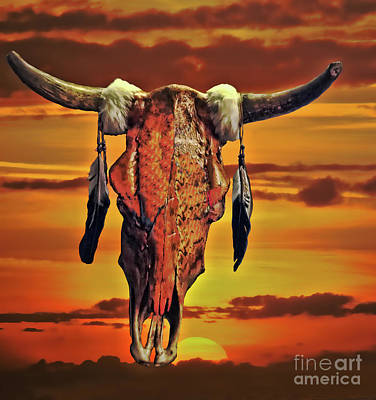 Photograph - Skull At Sunset by Steven Parker