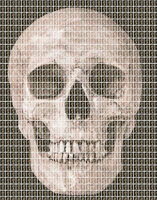 Skull - Black Original by Gary Hogben