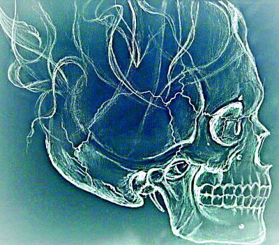 Burnt Digital Art - Skull Burned by Aleksandra Savova