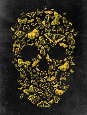 Skull Butterflies 2 Print by Francisco Valle
