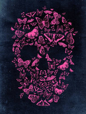 Skull Butterflies Print by Francisco Valle