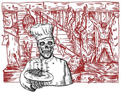 Dungeon Digital Art - Skull Cook by Aloysius Patrimonio