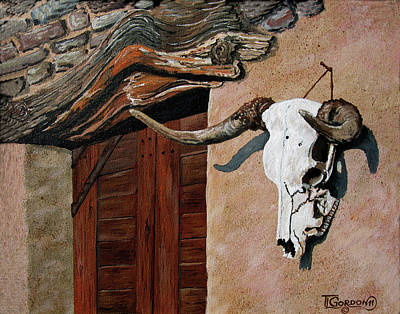 Cow Skull Painting - Skull En La Casa by Timithy L Gordon