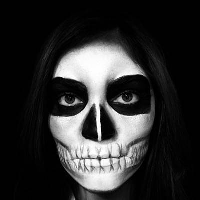 Woman Wall Art - Photograph - Skull Face Halloween Make-up by Juan Silva