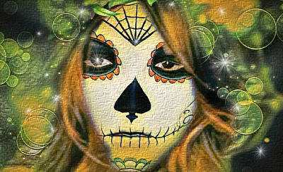 Digital Art - Skull Face Lady by Artful Oasis