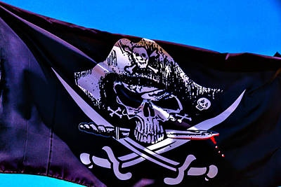 Photograph - Skull Flag With Dagger by Garry Gay