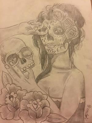Sugar Skull Girl Drawing - Skull Girl Reflection by Megan Reppert