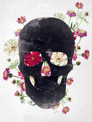Skull Grunge Flower 2 Print by Francisco Valle