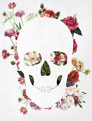 Skull Grunge Flower Art Print by Francisco Valle