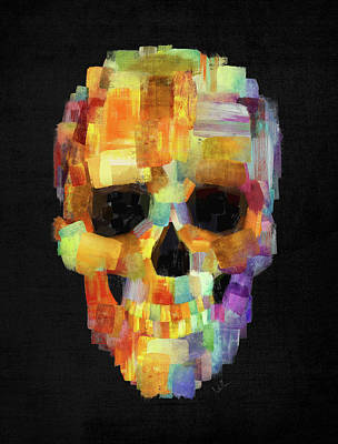 Skull Grunge Paint Black Art Print by Francisco Valle